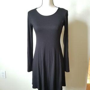 Forever 21 Women's Black Ribbed Skater Dress